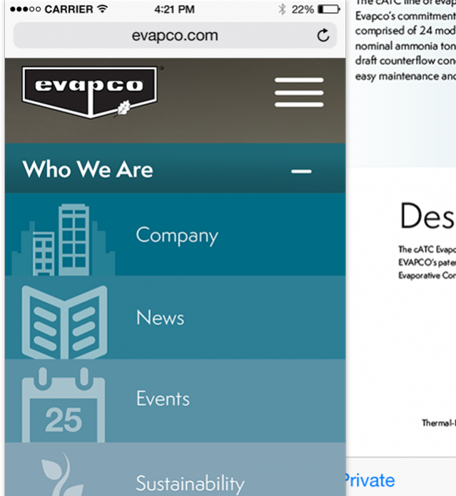 Evapco Website Concept